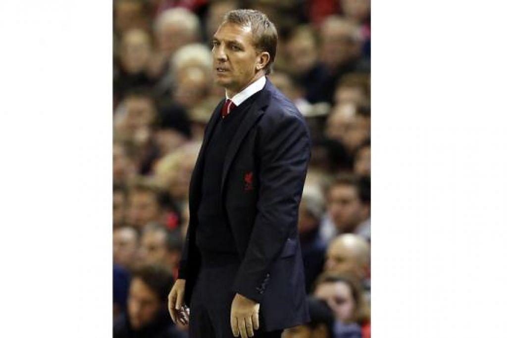 BRENDAN RODGERS: Pengurus Liverpool yang mengalami tekanan kerana kedudukan pasukan itu yang telah merosot. - Foto REUTERS