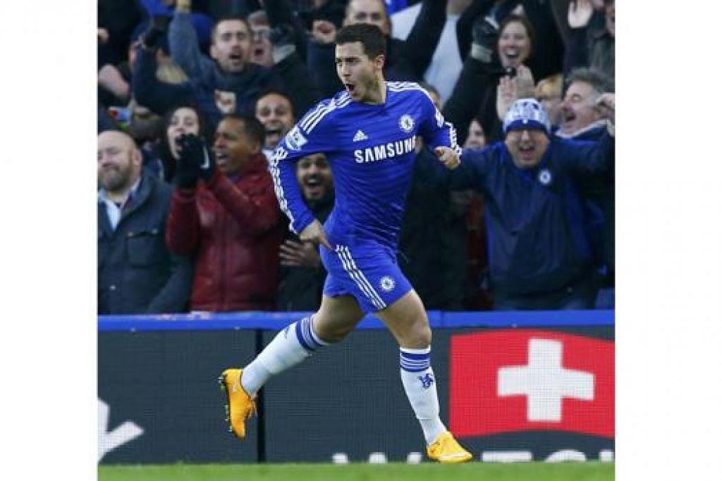 CEMERLANG SEJAK AWAL MUSIM INI: Kecemerlangan bintang muda dari Belgium, Eden Hazard, sejak awal musim ini antara sebab utama Chelsea kini menduduki takhta liga sejauh ini. - Foto REUTERS