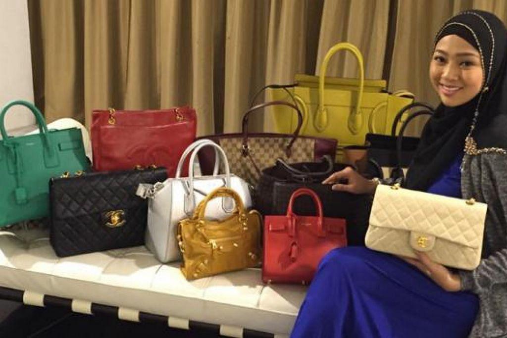 PENIAGA BEG MEWAH: Penyanyi Sarah Aqilah menjual beg berjenama antarabangsa melalui laman sosial, Instagram, di bawah nama The Little White Bag. - Foto ihsan SARAH AQILAH