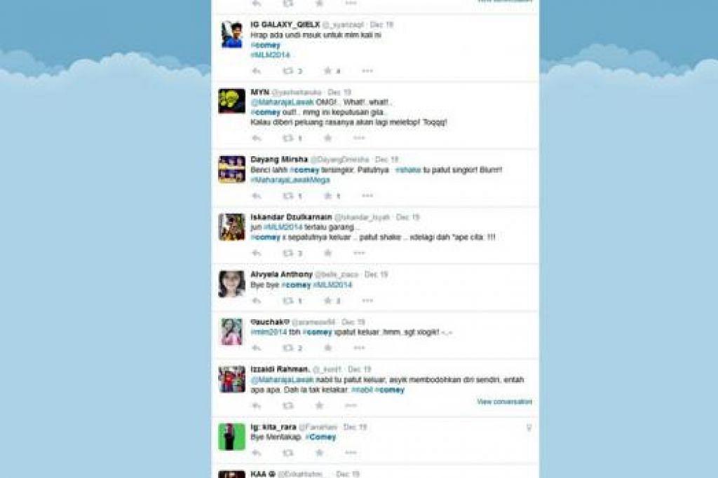 PEMINAT PROTES: Beberapa peminat meluahkan rasa terkejut dengan penyingkiran Comey daripada MLM 2014 di laman sosial Twitter. - Foto : INSTAGRAM