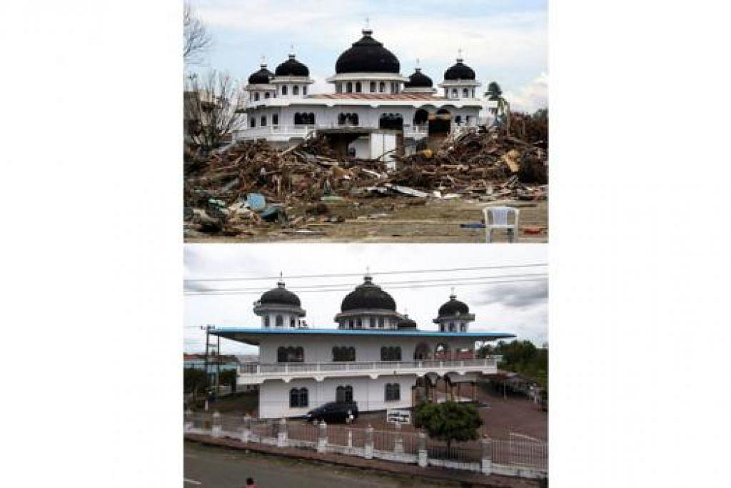 DULU DAN SEKARANG: Rumah yang musnah di kawasan sekeliling sebuah masjid di Meulaboh (gambar atas) ekoran tsunami pada 26 Disember 2004, kini telah pun dibersihkan (gambar bawah). - Foto AFP