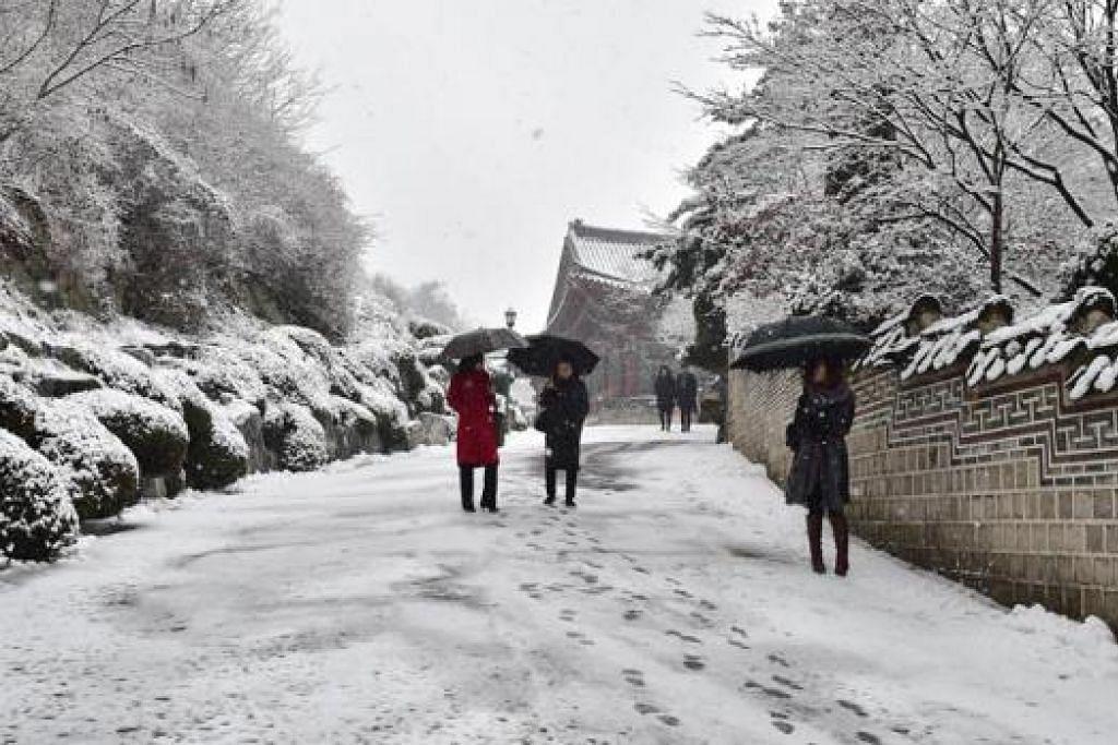 PERCUTIAN MENYAMANKAN: Hujan salji yang menyelubungi jalan, tumbuh-tumbuhan dan bangunan seperti di bandar Seoul ini menjadi daya tarikan pelancong ke Korea Selatan. - Foto AFP