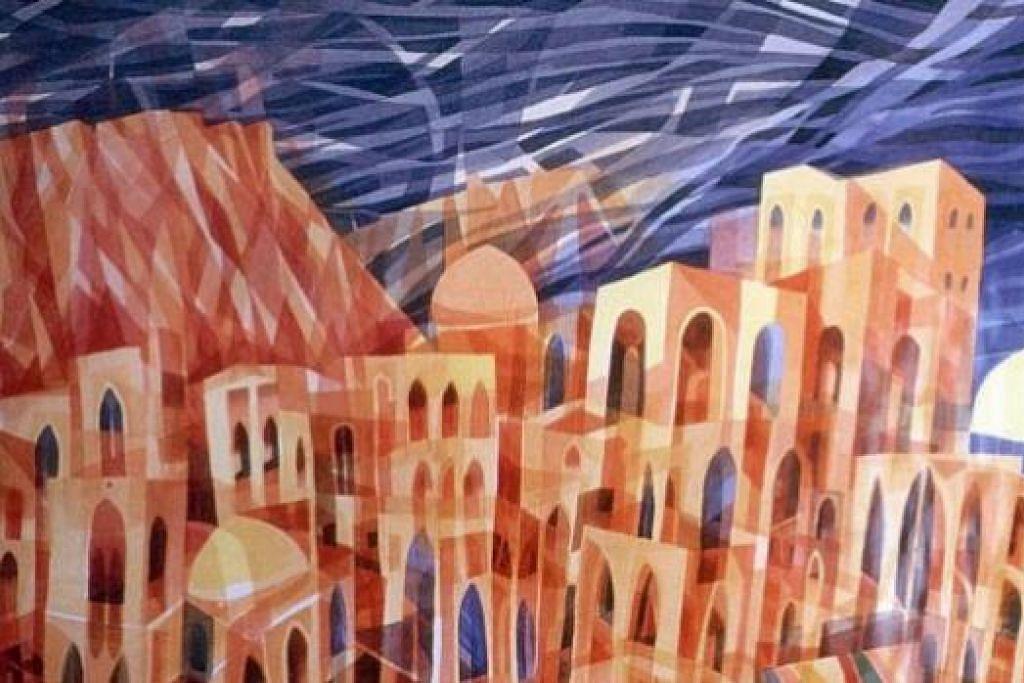 BERBAKAT: Satu lagi karya seni Almarhum A. Ghani Hamid berupa lukisan abstrak masjid.