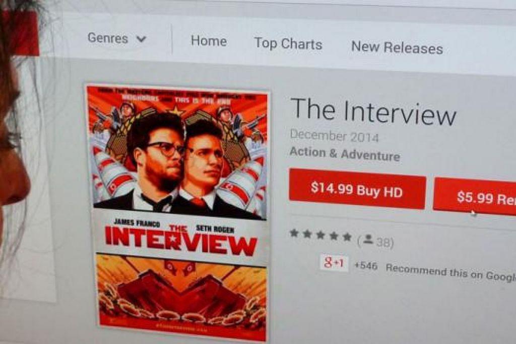 KERAP DIMUATTURUN: Sony hanya mengeluarkan filem tersebut menerusi saluran rasmi YouTube Sony Pictures Home Entertainment, Google Play, laman web SeeTheInterview.com dan platform Microsoft Xbox untuk pengguna di Amerika Syarikat sahaja. - Foto AFP