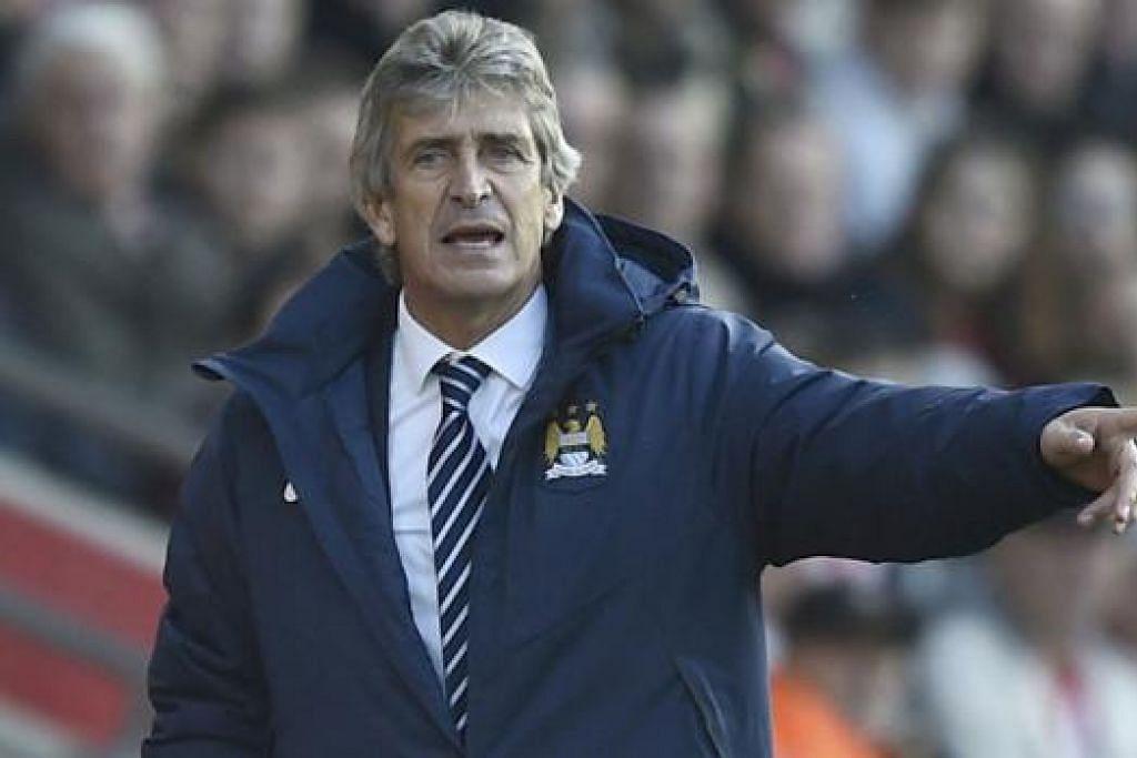 MARAH PEMAIN: Manuel Pellegrini tidak dapat menyembunyikan kemarahannya kerana pemainnya bak hilang tumpuan dalam babak kedua. - Foto Reuters