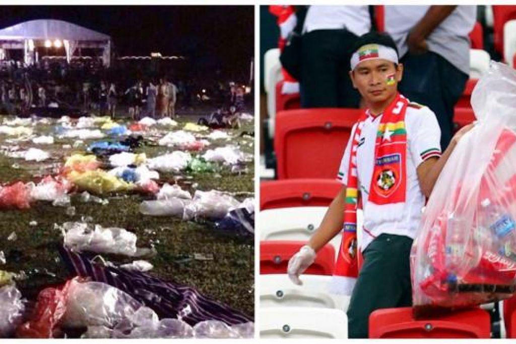 BEZAKAN: Keadaan sampah berselerak selepas Pesta Muzik Laneway di Taman di Pesisiran (kiri). Keadaan berbeza di Stadium Negara, dengan penyokong bola sepak Myanmar mengutip sampah selepas menyaksikan perlawanan bola sepak di situ. - Foto FACEBOOK