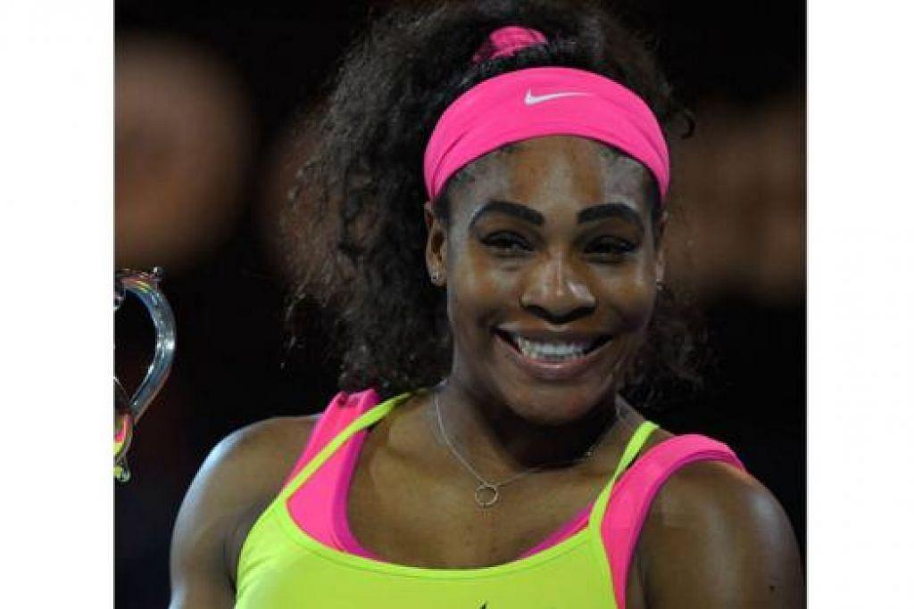 JUARA LAGI: Serena Williams menewaskan Maria Sharavova bagi memenangi Terbuka Australia. – Foto REUTERS