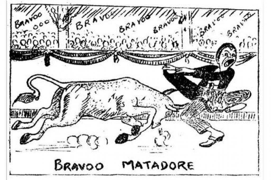 BRAVO MATADOR: Antara kartun Wak Ketok yang popular dimuatkan di Utusan Melayu dalam tahun 1930-an. - Foto ihsan WAK KETOK