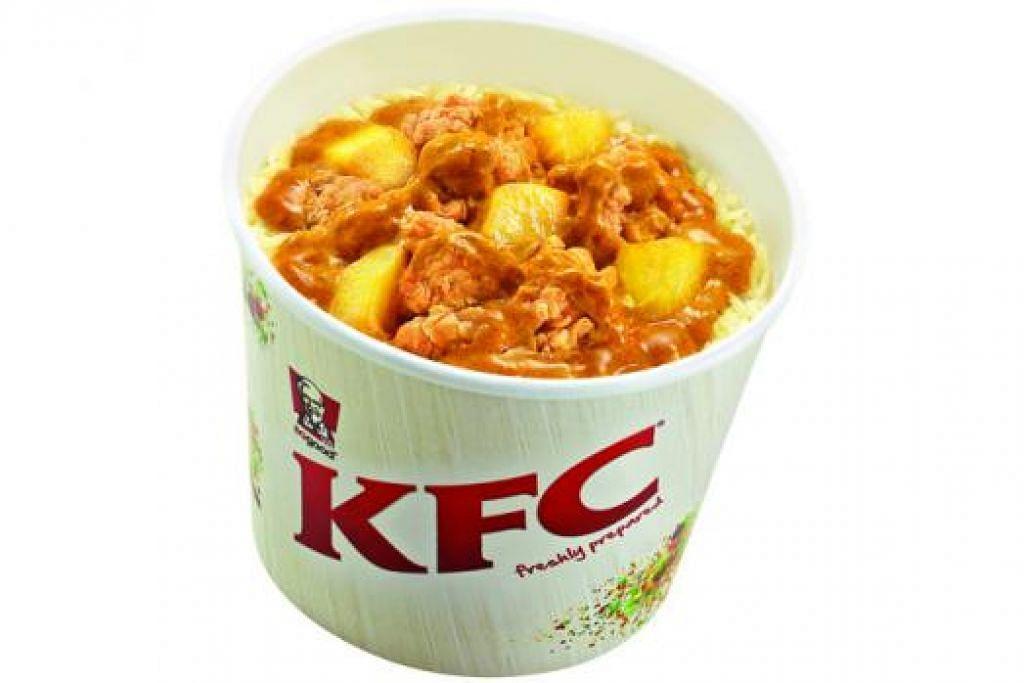 GABUNGAN UNIK: KFC Curry Bucket Rice (gambar kanan) disediakan untuk mereka yang gemar makan nasi dengan apa jua hidangan, termasuk ayam KFC, tetapi ditambah dengan pilihan lauk kari atau lauk berkrim. – Foto KFC