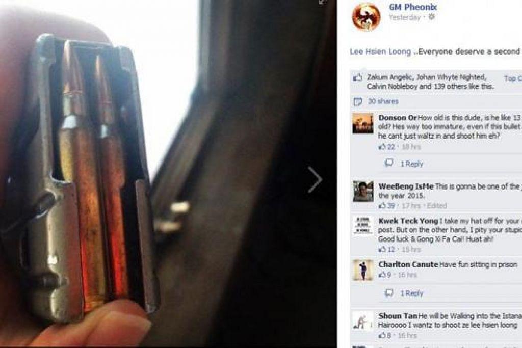 ANCAMAN TERHADAP PM: Pengguna yang mengancam Encik Lee menerusi laman Facebook GM Pheonix turut memuat naik gambar peluru. - Foto FACEBOOK