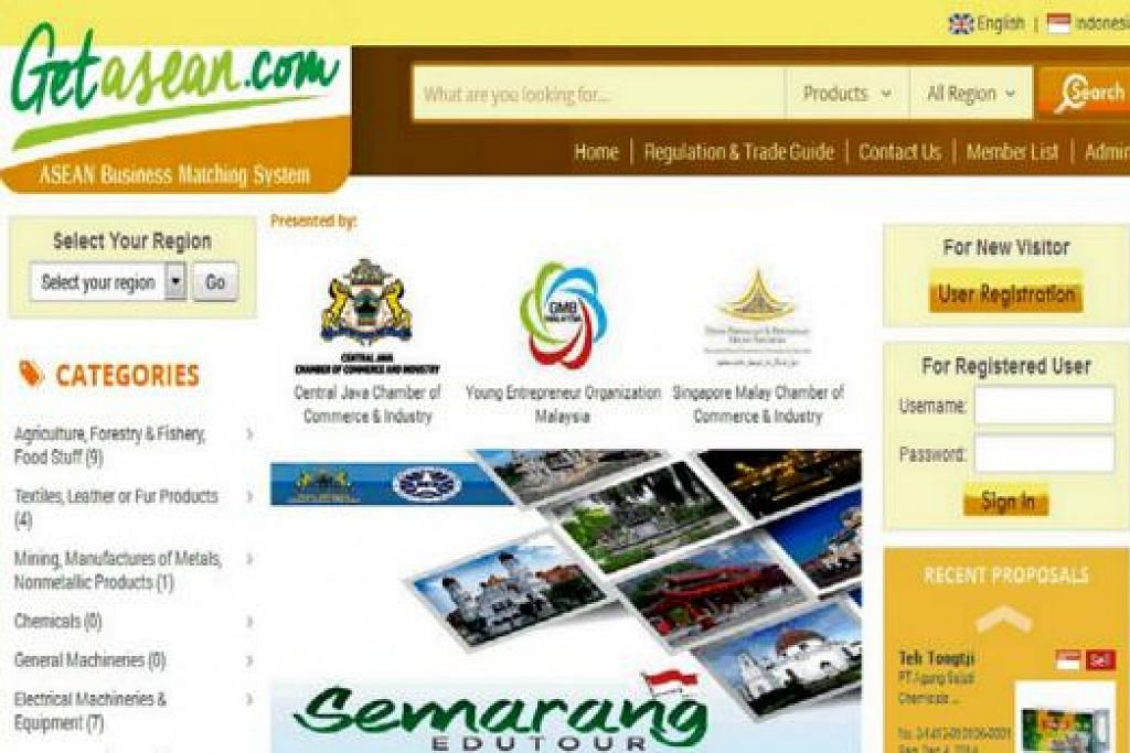 PEMADANAN NIAGA: Beginilah gambaran laman gerbang GetAsean.com yang sedang menjalani tahap ujian. - Foto GETASEAN.COM