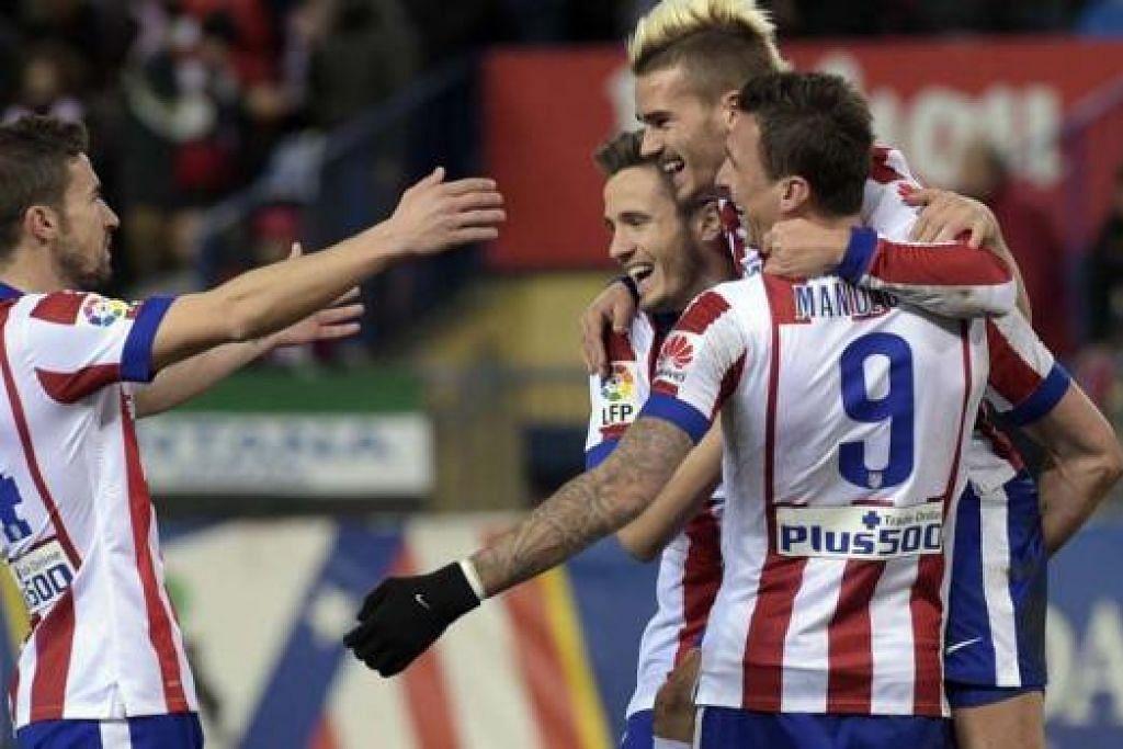 KEKALKAN PRESTASI: Atletico Madrid berharap dapat mengekalkan prestasi cemerlang dalam perlawanan Liga Juara-Juara Eropah malam ini. - Foto AFP