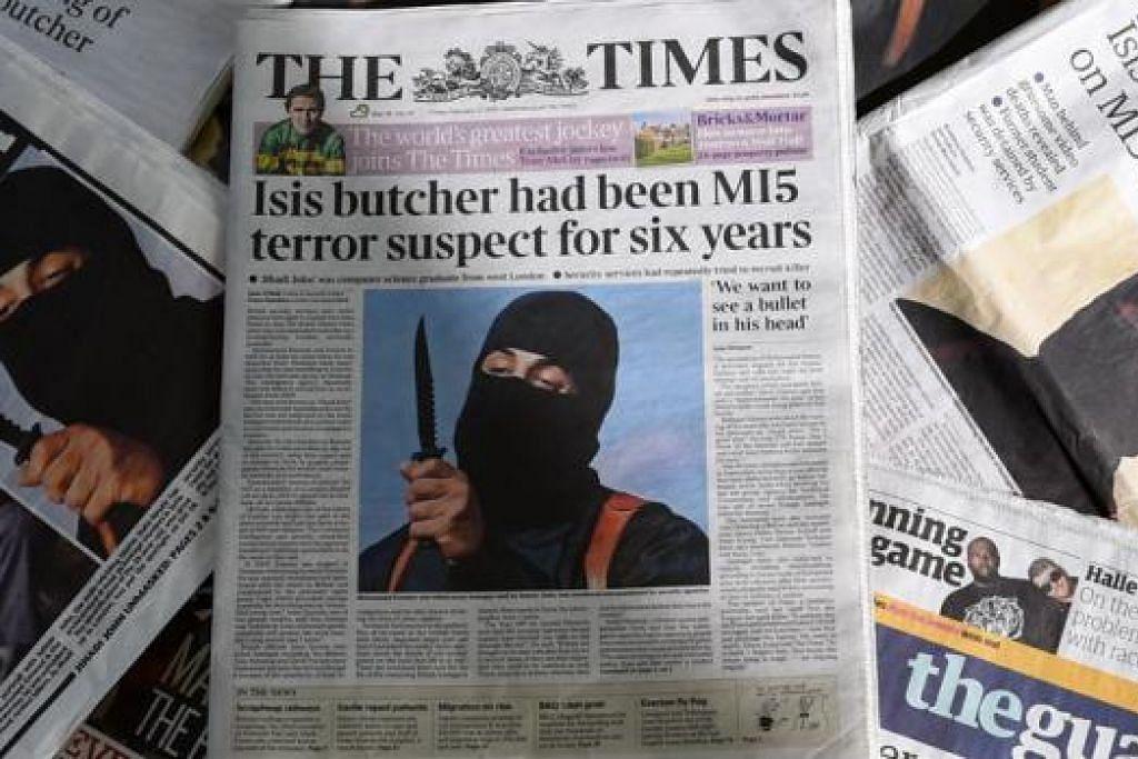 LIPUTAN MELUAS: Akhbar-akhbar Britain memberi liputan meluas kepada Jihadi John, atau nama sebenarnya Mohammed Emwazi. - Foto AFP