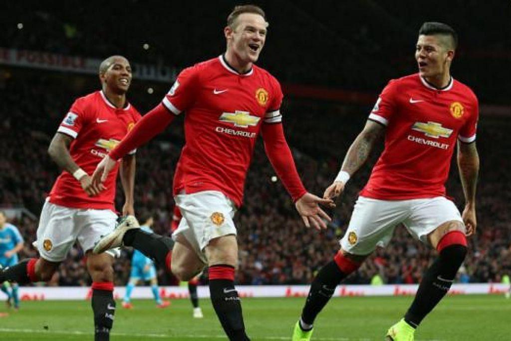 BURU KEMENANGAN: Wayne Rooney (tengah) memburu kemenangan bagi Manchester United dalam tempoh perlawanan genting ini.