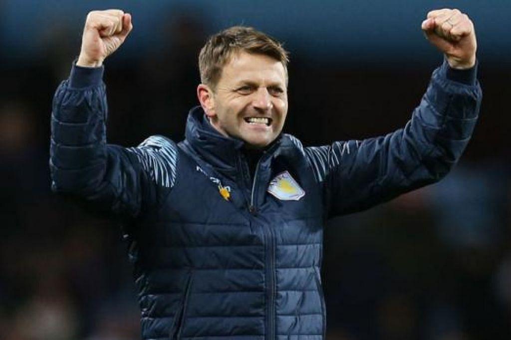 AZAM PERTINGKAT PRESTASI PASUKAN: Pengurus Aston Villa, Tim Sherwood, meraikan kejayaan pasukannya menamatkan rentetan 12 perlawanan tanpa kemenangan sejurus selepas kejayaan menewaskan West Brom dinihari semalam. - Foto REUTERS