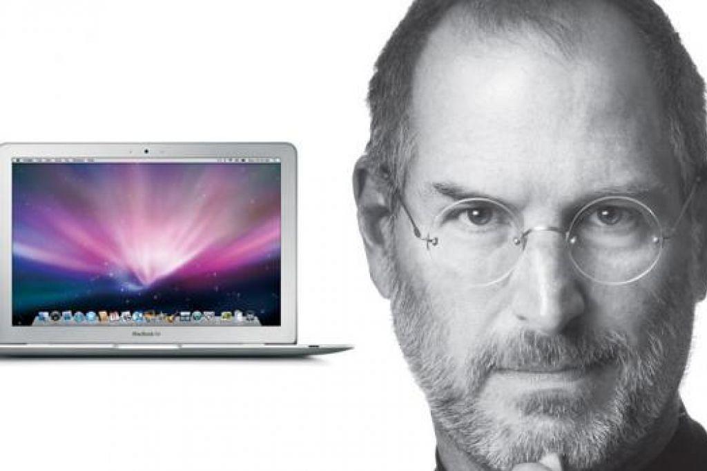 REVOLUSI IT: Inilah komputer riba MacBook (atas, kiri) yang Apple hasilkan di bawah pimpinan mendiang Steve Jobs (atas, kanan). - Foto-foto LITTLE BROWN dan ihsan APPLE