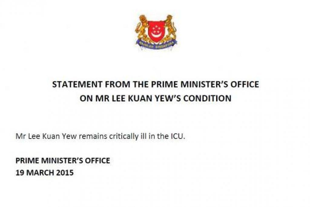 MASIH KRITIKAL: Kenyataan Pejabat Perdana Menteri kepada pihak media. - Foto