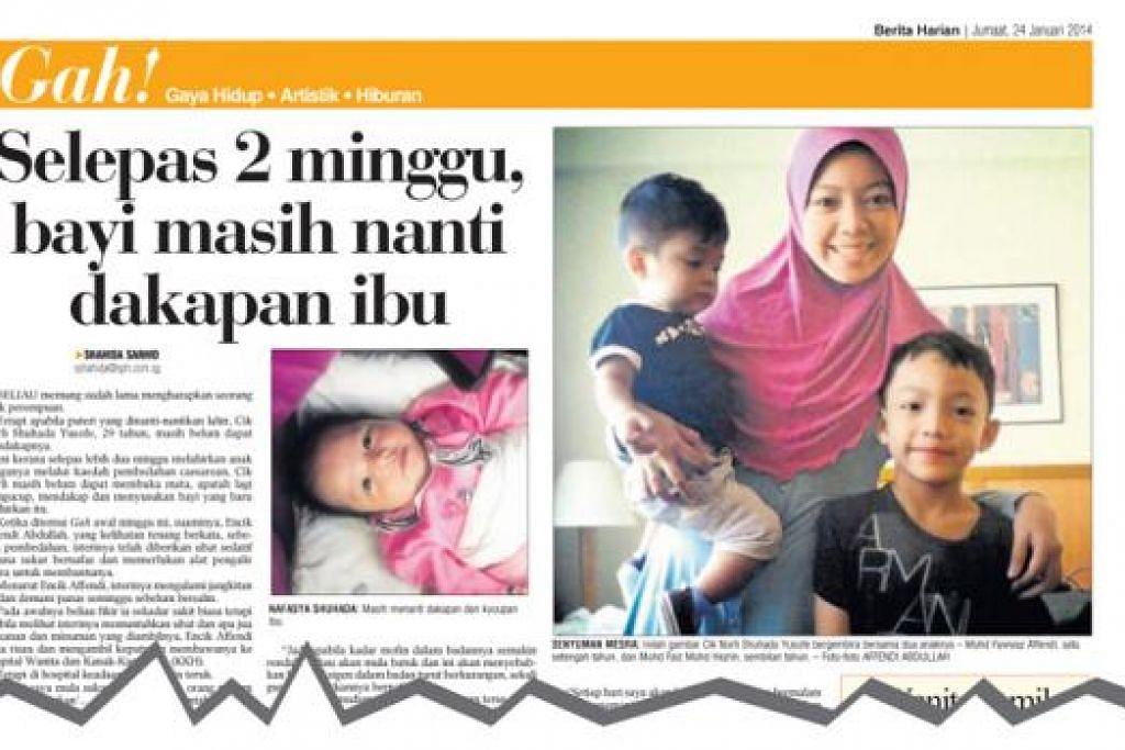 AKHIRNYA DAPAT MENDAKAP CAHAYA MATA: Kisah menyayat hati Cik Norli Shuhada yang tidak dapat memegang apatah lagi mendakap bayi yang baru dilahirkannya dipaparkan di Berita Harian Januari tahun lepas.