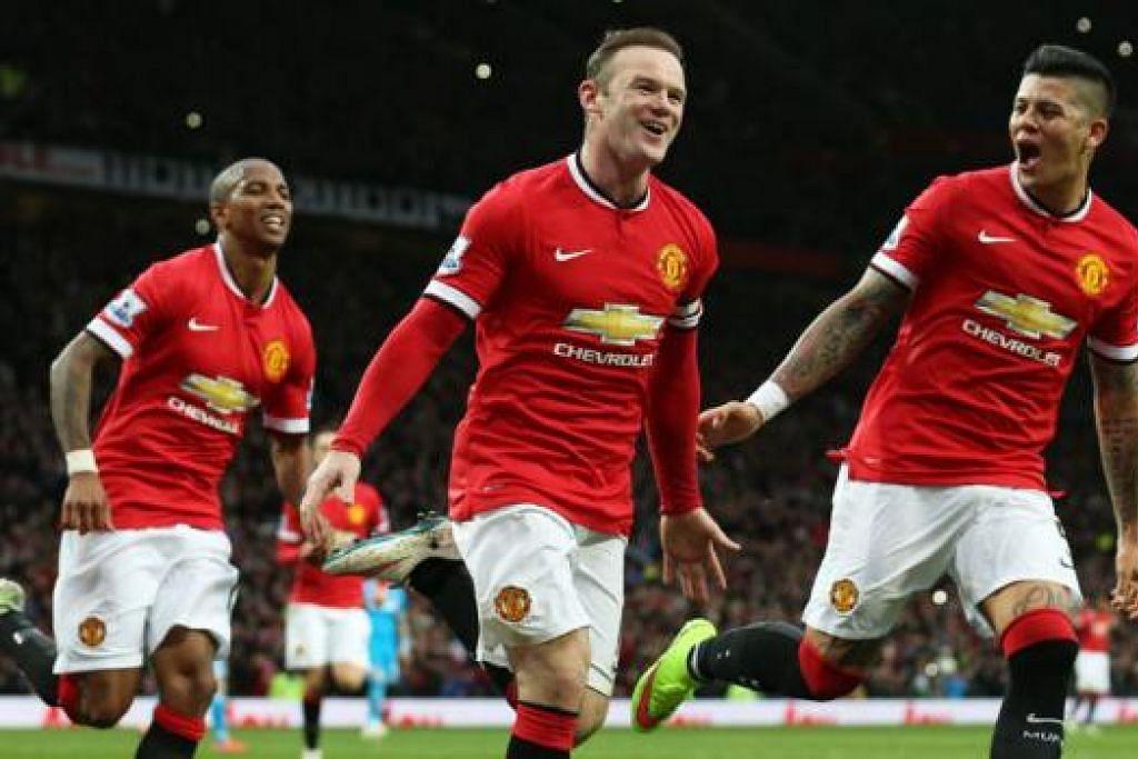 Manchester United (gambar atas) pula menggantungkan harapan pada kapten dan penyerang Wayne Rooney (tengah) untuk menggempur kubu Liverpool di Anfield bagi mengukuhkan kedudukannya dalam kelompok empat pasukan teratas Liga Perdana