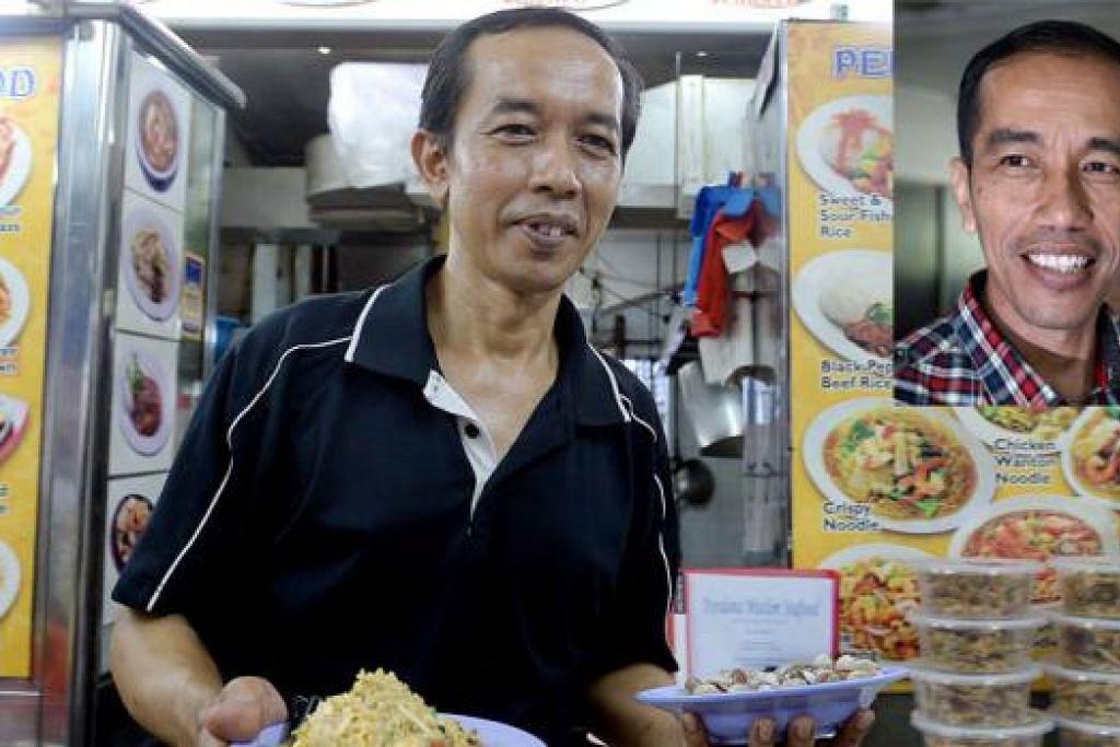 WAJAH RANCAKKAN NIAGA: Gerai makanan kendalian Encik Misran kian rancak selepas lebih ramai orang melihat wajahnya iras-iras presiden Indonesia, Pak Jokowi (gambar sisipan). - Foto TAUFIK A. KADER