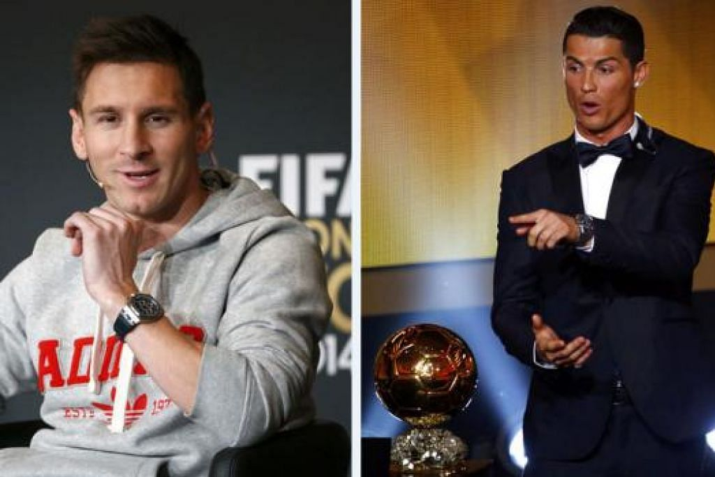 PALING KAYA: Selain mengetuai senarai pemain terkaya dunia, penyerang Argentina dan Barcelona, Lionel Messi, turut berada di hadapan dari segi jumlah anugerah yang dimenangi, manakala Cristiano Ronaldo (kanan), penyerang Portugal dan Real Madrid, berada di tempat kedua senarai pemain bola sepak terkaya dunia. - Foto-foto REUTERS