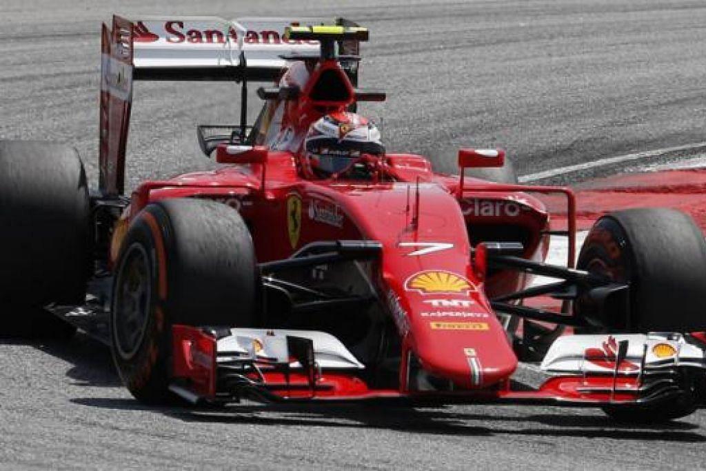 BOLEH BERI SAINGAN: Pemandu Ferrari dari Finland, Kimi Raikkonen, merupakan pemandu kedua terpantas di belakang Lewis Hamilton dari Mercedes di Litar Antarabangsa Sepang semalam. - Foto REUTERS