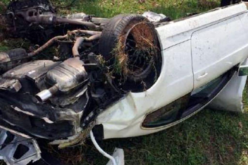 AKIBAT TERBABAS: Kereta BMW 6 Series yang dipandu teman Awal Ashaari, Encik Izuan Mokhtar, rosak teruk akibat kemalangan semasa menuju ke Melaka. - Foto BERITA HARIAN MALAYSIA