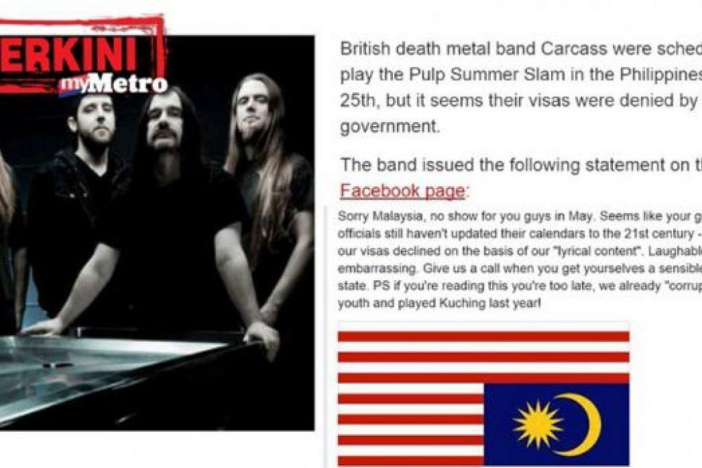 CETUS KEMARAHAN: Kumpulan Carcass dari Liverpool membangkitkan kemarahan kerana memuat naik status di Facebook yang menunjukkan rasa tidak puas hati mereka dilarang membuat persembahan di Malaysia. - foto MYMETRO