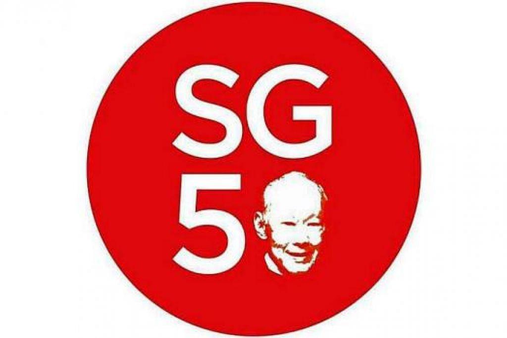 MENGENANG MENDIANG ENCIK LEE: Nombor sifar dalam logo SG50 ini diubah ke wajah mendiang Encik Lee.