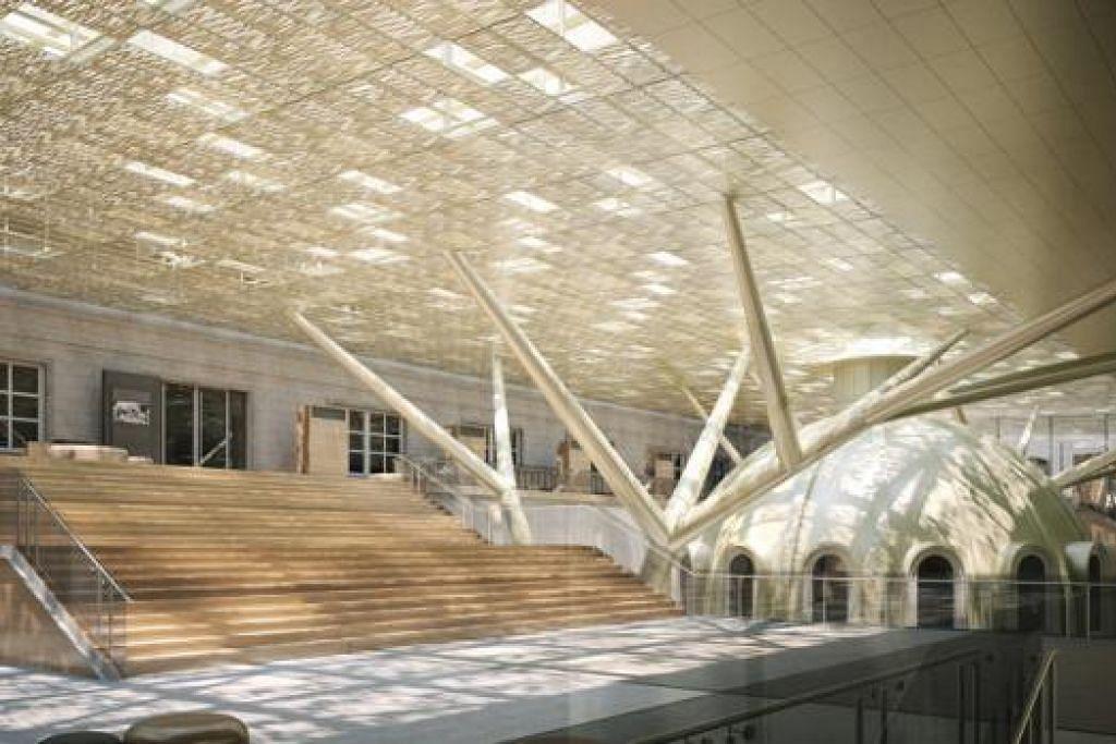 PELBAGAI GUNA: Ruang bumbung sebahagian bangunan Mahkamah Agung ini boleh digunakan untuk pelbagai kegiatan sampingan berunsur kesenian. - Foto THE STRAITS TIMES