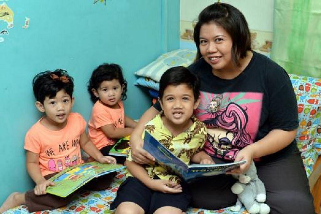 DORONGAN: Berbanding dengan anak perempuannya, (dari kiri) Nor Irynn, empat tahun, dan Nor Iryss, dua tahun, Cik Norlizah perlu memberi banyak tunjuk ajar dan aktiviti bagi anak lelakinya, Noor Ilhan, tujuh tahun, dan abangnya Noor Irfan, 12 tahun (tiada dalam gambar). - Foto M.O. SALLEH