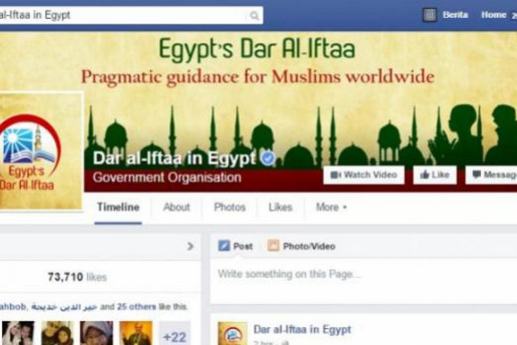 NASIHAT: Laman Facebook Dar-Al-Ifta menawarkan pelbagai khidmat seperti menjawab kemusykilan agama yang dikirimkan pembaca.- Foto FACEBOOK DAR-AL-IFTA
