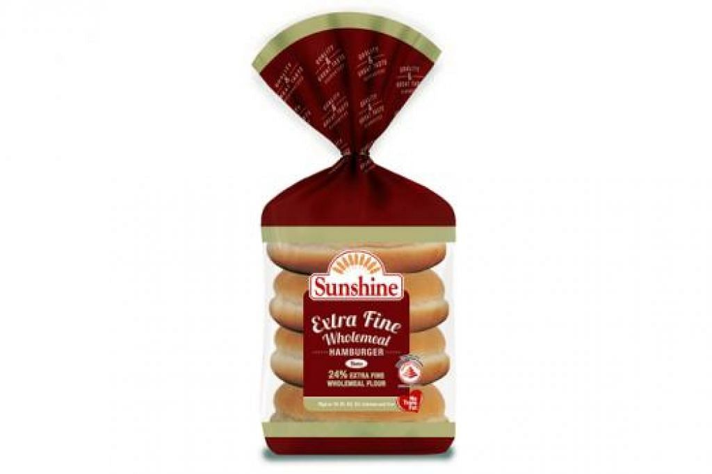 ROTI BERKHASIAT: Salah satu roti keluaran Sunshine, Sunshine Extra Fine Wholemeal Hamburger Buns. - Foto SUNSHINE