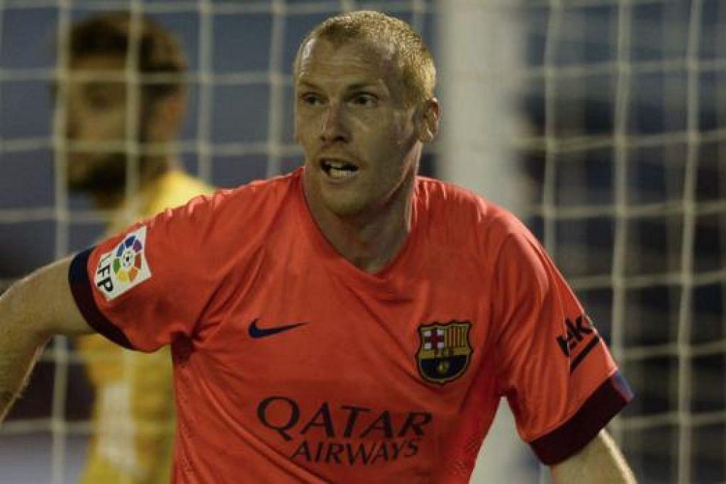 JEREMY MATHIEU: Penyelamat Barcelona untuk membolehkan pasukan itu terus mendahului La Liga. - Foto AFP
