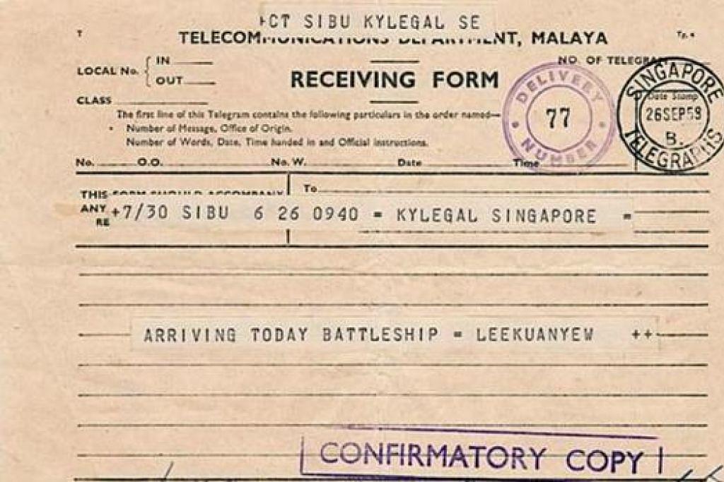 KHAZANAH LAMA: PM Lee menjumpai telegram ini apabila mengemas barangan mendiang Encik Lee di rumahnya. - Foto FACEBOOK PM LEE