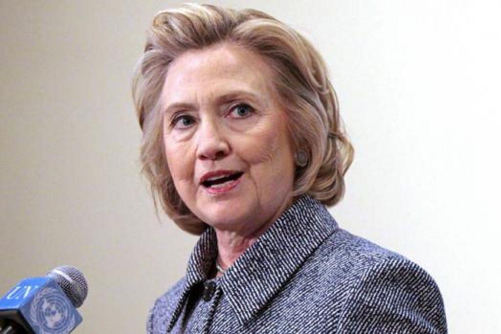 CIK CLINTON: Buat cubaan kali kedua menjadi presiden. - Foto AFP
