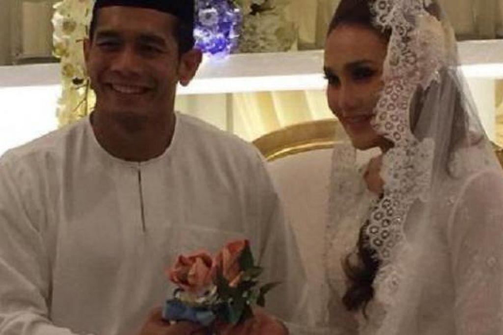 SELAMAT DIIJABKABUL: Artis popular Malaysia, Fahrin, menyempurnakan akad nikah dengan sekali lafaz apabila mengahwini isterinya, Elena,  di Pusat Konvensyen Sime Darby Bukit Kiara, di sini pagi ini. - Foto BHM