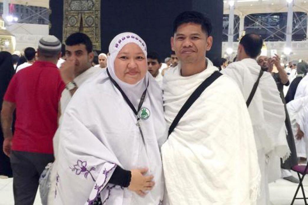 TETAMU ALLAH: Haryani Othman bersama suami, Khairul Famy Kassim, menunaikan umrah awal Mei ini. - Foto ihsan HARYANI OTHMAN