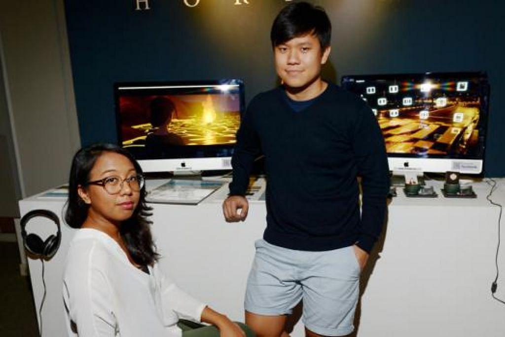 PERMAINAN VIDEO JADI ILHAM: 'Horizon' dihasilkan Cik Kamelia Umirah Kamsani (kiri) dan rakannya, Encik Benjamin Low berbekalkan idea yang tercetus daripada permainan Playstation bertajuk 'Journey'. - Foto TUKIMAN WARJI