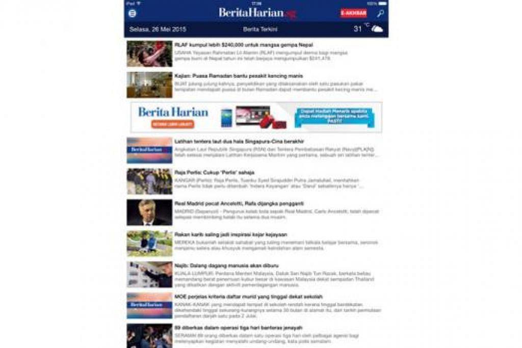 BERWAJAH BARU: Aplikasi bergerak BH bagi iPad yang lebih mesra pengguna kini tersedia untuk dimuat turun. Pembaca yang memuat turun aplikasi itu akan dapat menikmati kandungan dalam talian akhbar ini secara percuma selama dua minggu. - Foto FACEBOOK BH.SG