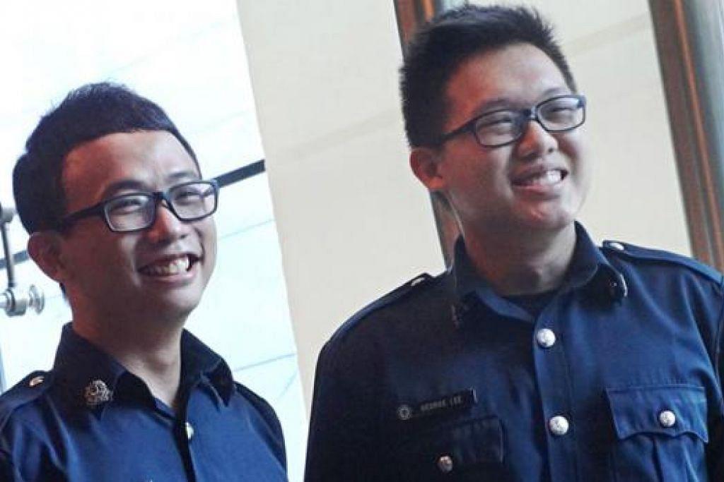 BERTINDAK PANTAS: Seorang lelaki yang mencabul kehormatan seorang wanita berjaya diberkas hasil ketangkasan pasangan pegawai polis NS, SC Tan (kiri) dan SC Lee (kanan), yang kedua-dua mereka tidak bertugas ketika itu. - Foto SPF