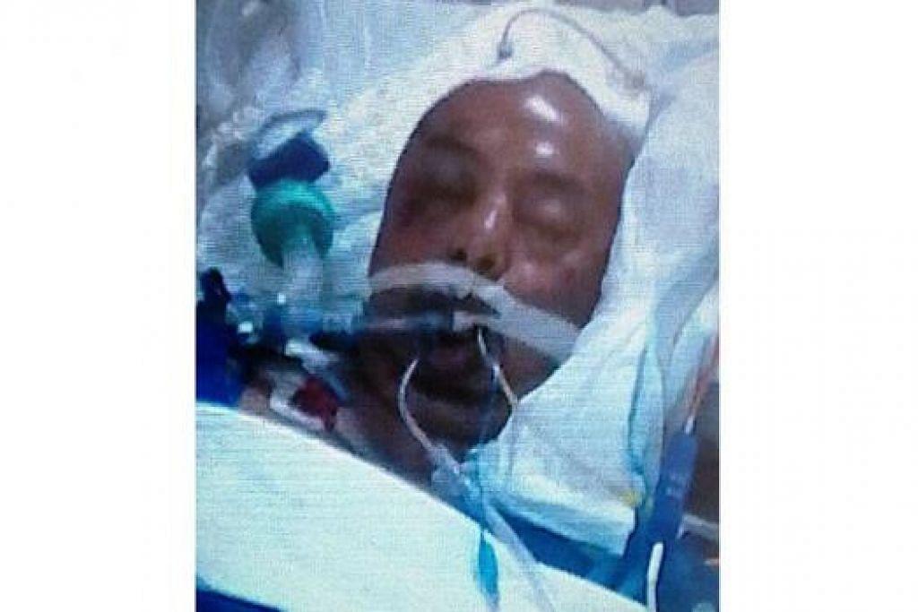 PUNCA NAHAS TIDAK DIKETAHUI: Encik Samat tidak sedarkan diri ketika dimasukkan ke unit jagaan rapi Hospital Besar Changi (CGH) selepas dikatakan dilanggar sebuah kenderaan dalam satu kemalangan jalan raya di daerah Ubi Crescent pada 31 Oktober lalu. - Foto ihsan CIK SIIN