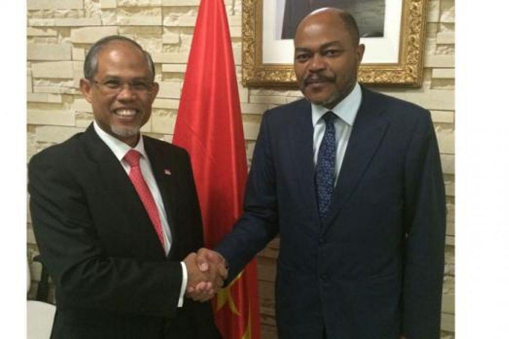 IKATAN DUA HALA: Encik Masagos (kiri) turut menemui Menteri Ekonomi Angola, Encik Abrahao Pio dos Santos Gourgel. - Foto MFA