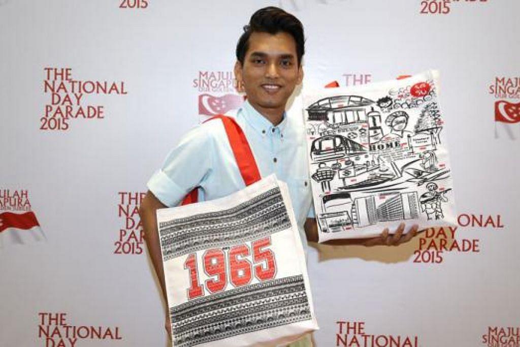 PEMINAT BESAR NDP: Dari usia 6 tahun, Encik Mohammed Shahrizam telah tertarik dan minat dengan NDP dan berjaya merealisasikan impian menyumbang kepada ulang tahun Singapura tahun ini dengan mereka beg cenderahati. – FOTO THE STRAITS TIMES