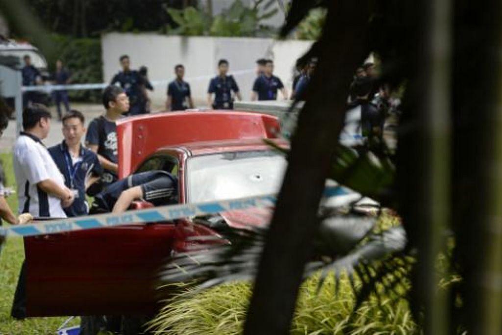 Kereta Subaru Impreza dalam kes tembakan di Hotel Shangri-La. - Gambar fail.
