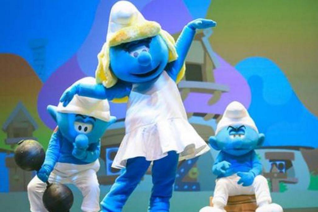 BAKAL HADIR: Watak-watak 'Smurfs' ini akan tampil dalam The Smurfs Live On Stage! di Teater Resorts World, Resorts World Sentosa dari Jumaat hingga Ahad ini. - Foto RESORTS WORLD SENTOSA