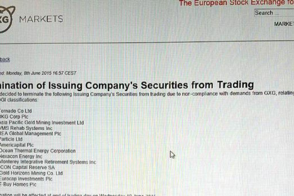 MASALAH PELABURAN SEMAKIN RUMIT: Laman menunjukkan bursa saham GXG bagi syarikat-syarikat kecil dan sederhana Eropah, telah menamatkan dagangan saham-saham beberapa syarikat termasuk APGMI kerana gagal mematuhi peraturan yang ditetapkan. - Foto INTERNET