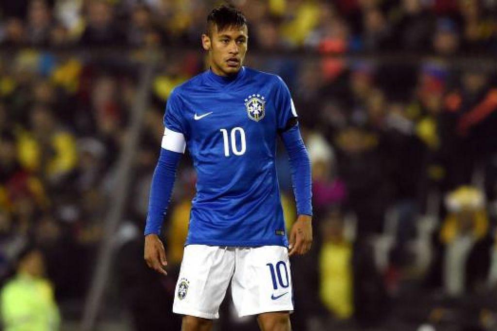 KEJOHANAN BERAKHIR: Dek kurang disiplin dan bersikap ungkal, Neymar digantung empat perlawanan selepas menyondol seorang pemain Columbia dalam perlawanan yang berakhir dengan kekalahan 1-0 bagi Brazil. - Foto AFP