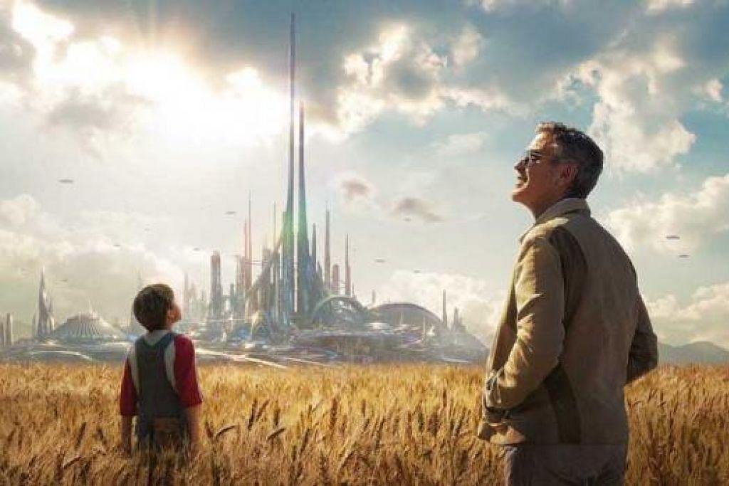TIDAK 'COOL' LAGI: George Clooney (kanan) tidak lagi peduli sekiranya beliau tidak kelihatan 'cool' dalam watak-wataknya kini berbanding semasa beliau masih muda, seperti dalam filem terbarunya berjudul 'Tomorrowland'. - Filem DISNEY