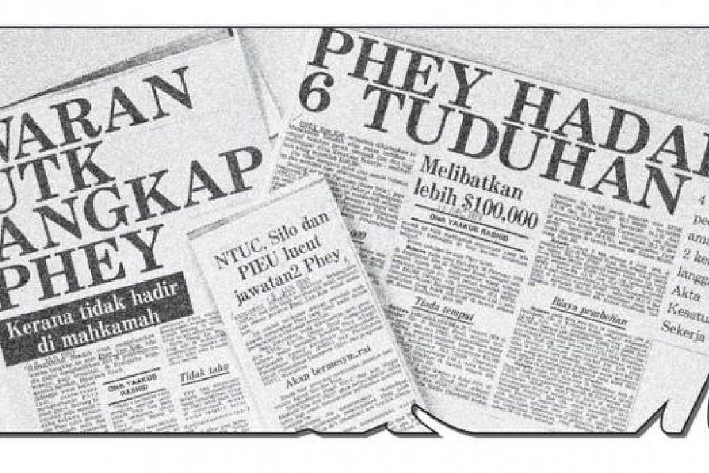 IMBAS KEMBALI: Keratan akhbar pada tahun 1979 yang disiarkan selepas Phey Yew Kok dituduh di mahkamah dan waran tangkap dikeluarkan setelah Phey gagal hadir di mahkamah pada 1980.